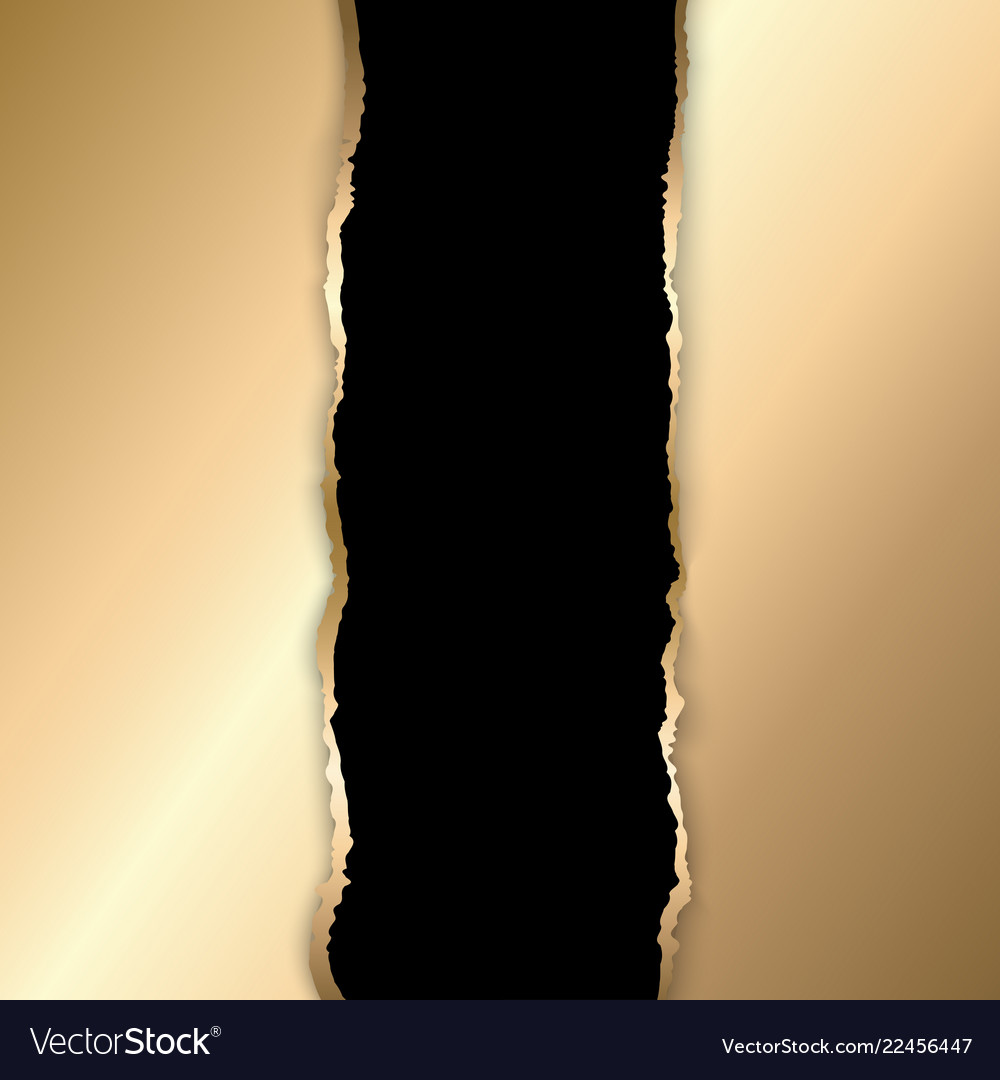 Gold and black torn paper template background