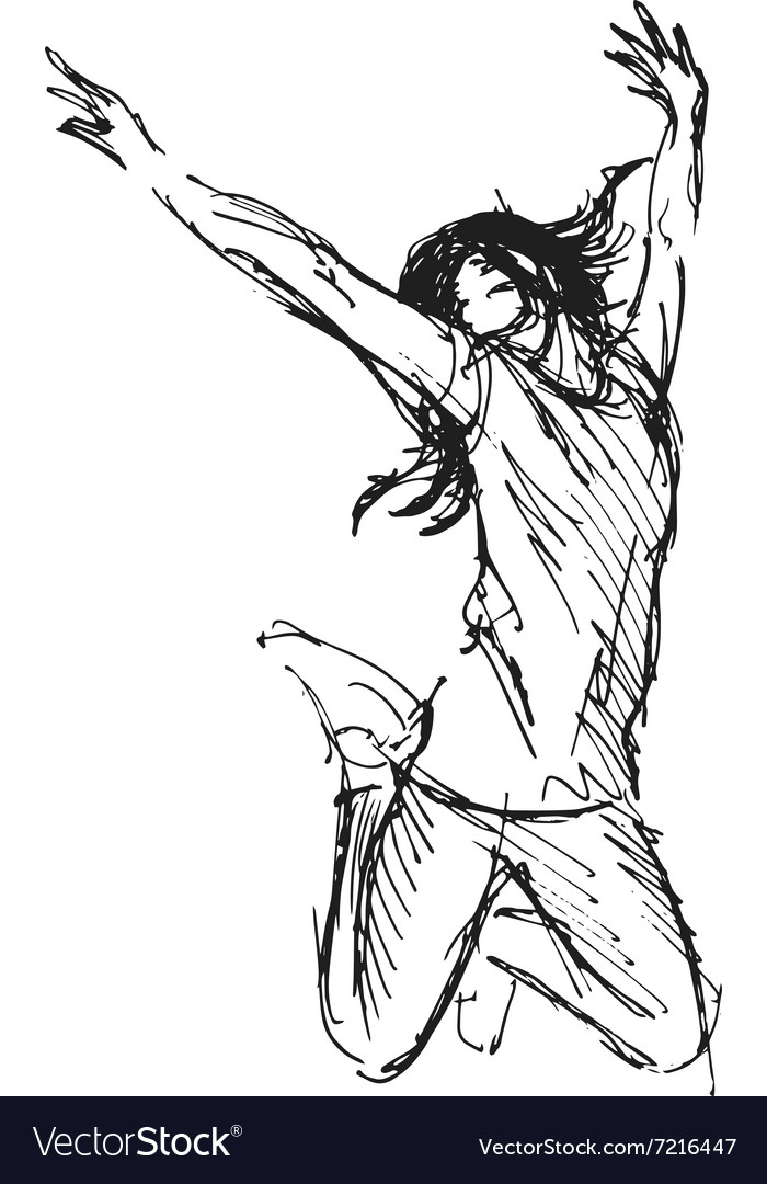 Hand sketch leaping woman