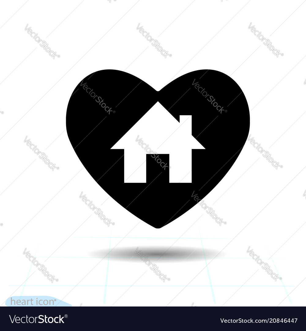 Home in black heart icon for valentines day
