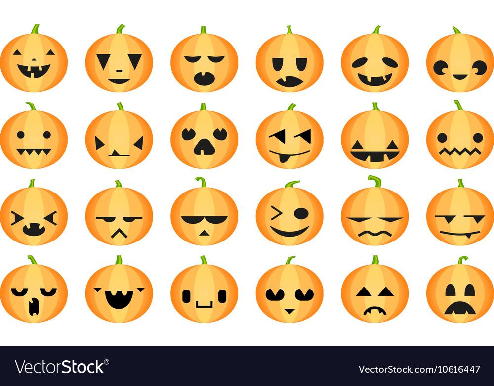 Pumpkins halloween set vector image