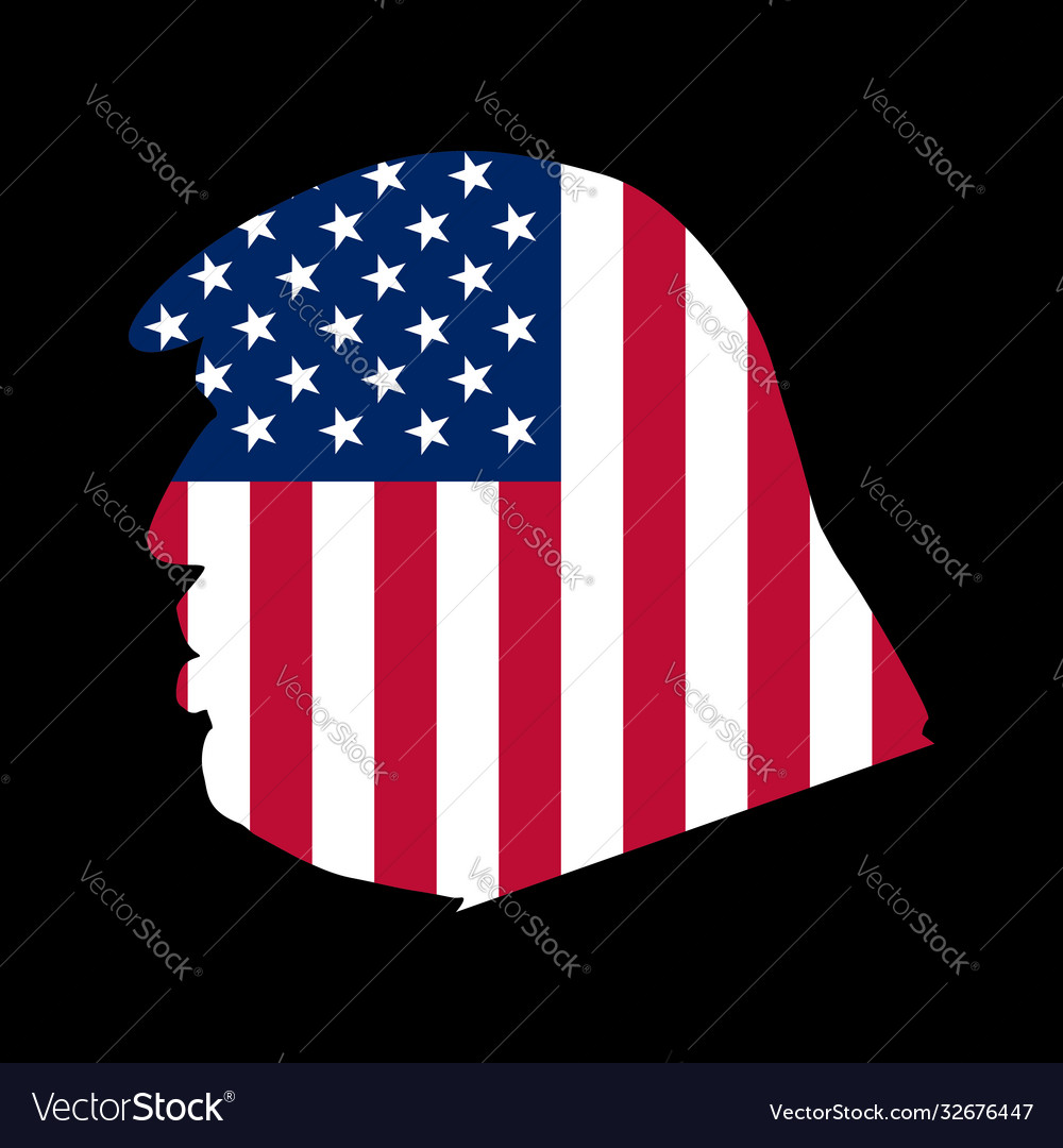 Side view donald trump with an american flag