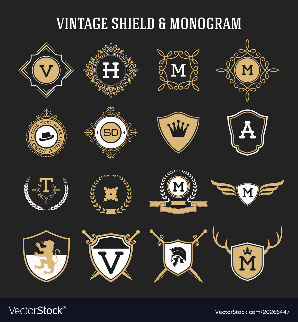 Vintage monogram and shield elements
