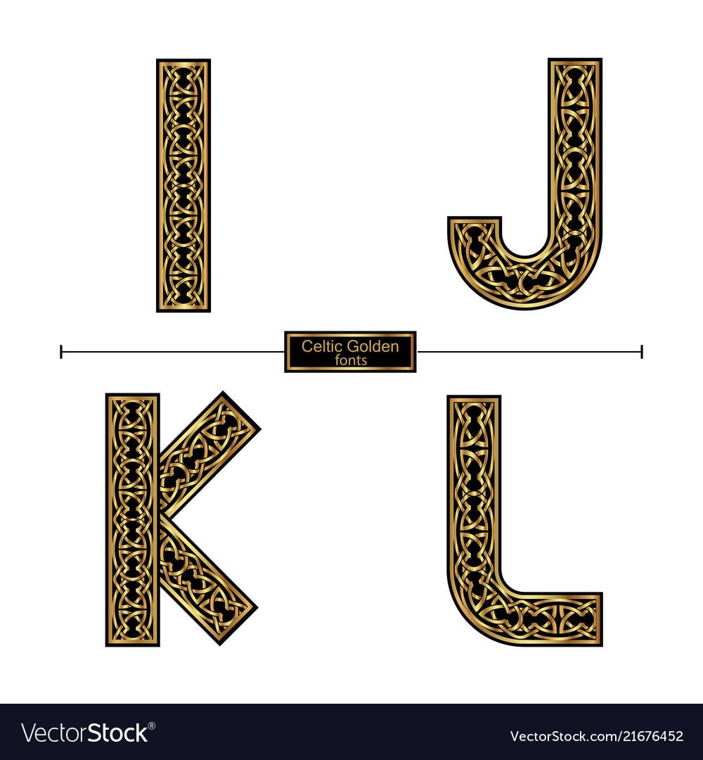 Alphabet celtic golden style in a set ijkl