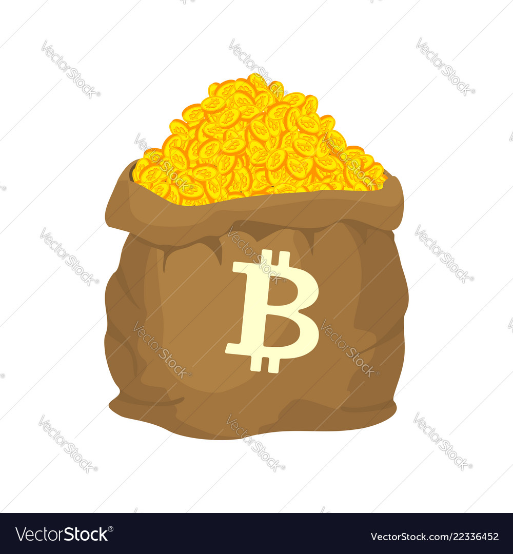 Bag of bitcoin sack of cryptocurrency lot of