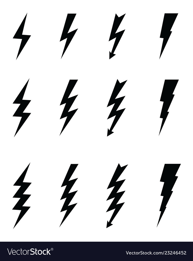 black icons of thunder royalty free vector image vectorstock