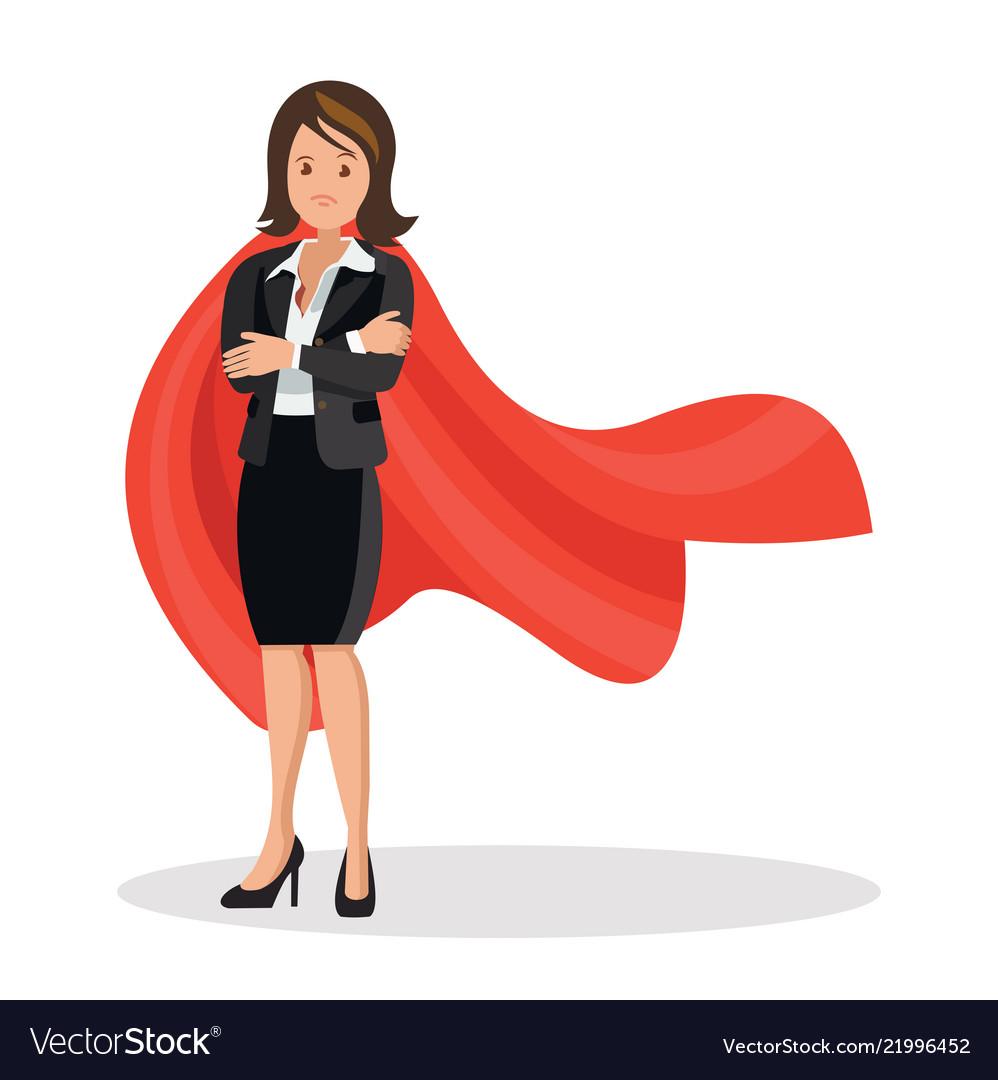 Businesswoman in a red cloak