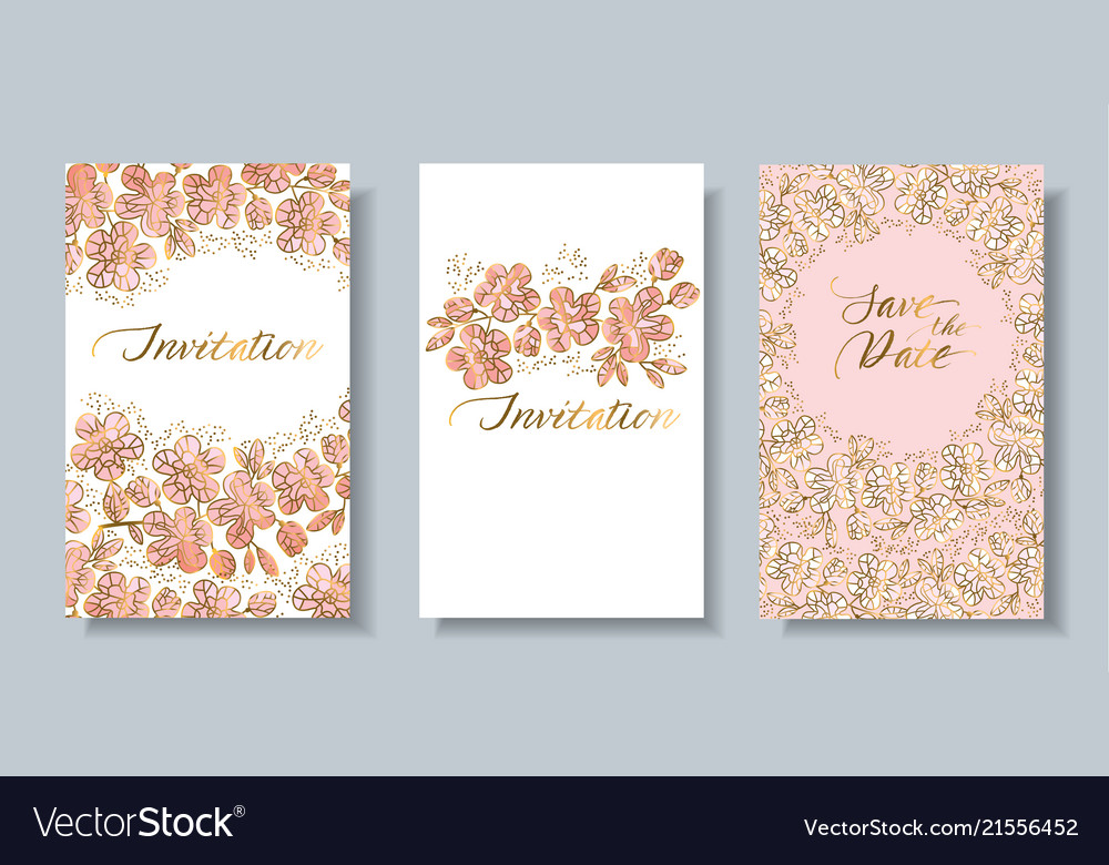 Decorative sakura flowers card set