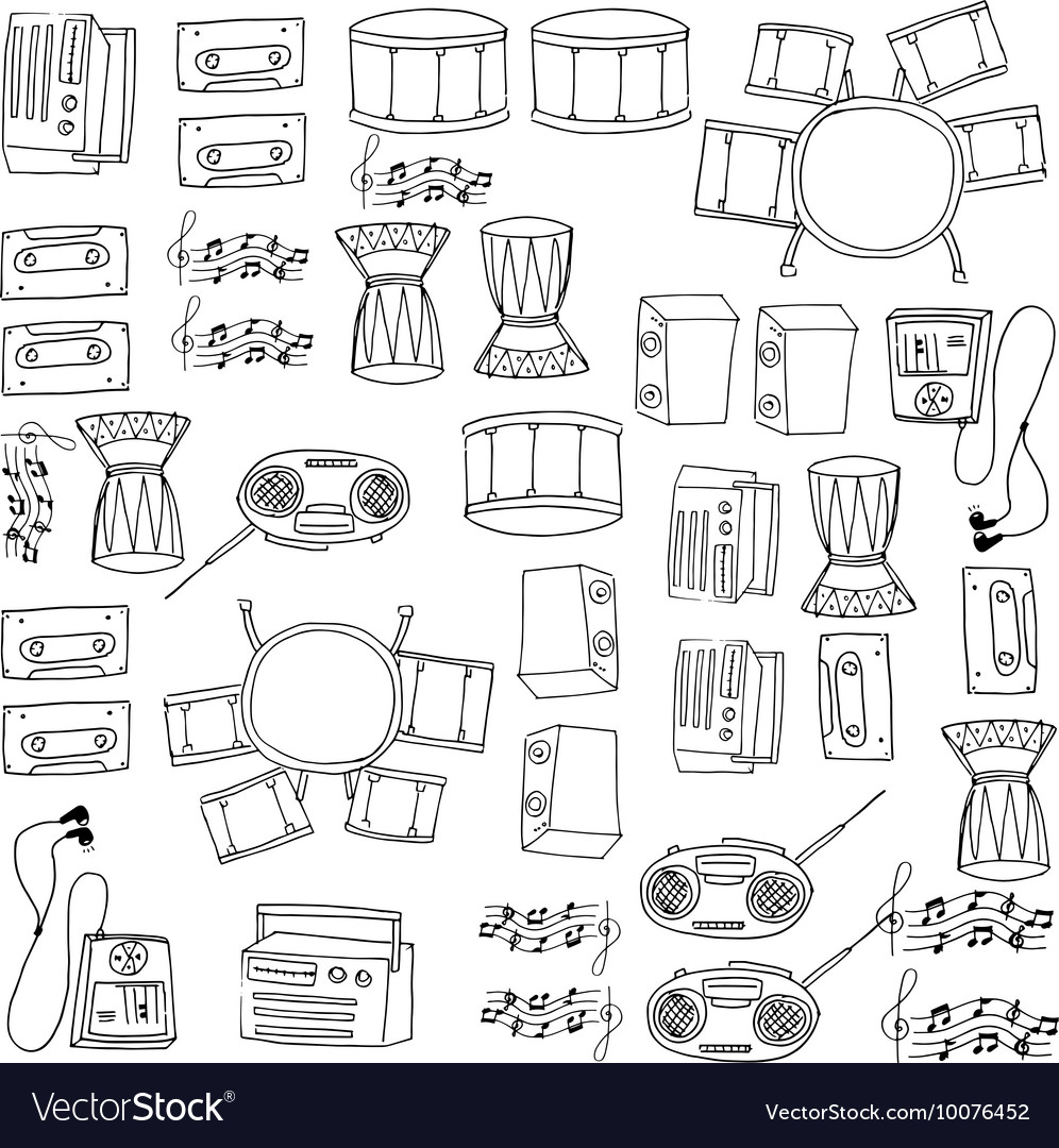 Doodle of music tools pack hand draw vector image