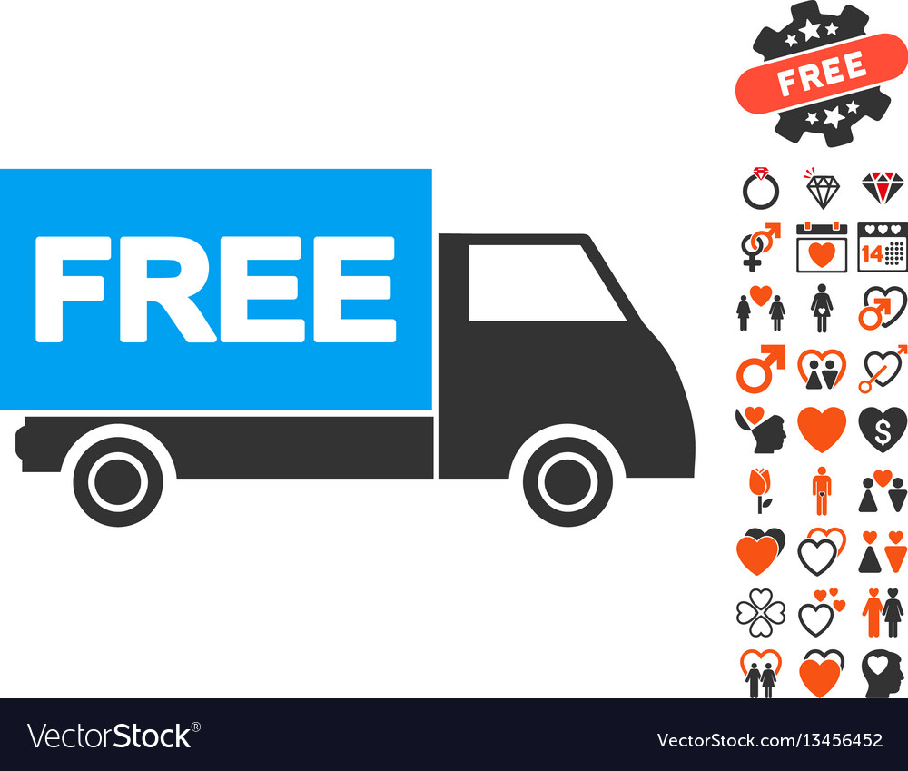 Free shipment icon with lovely bonus vector image