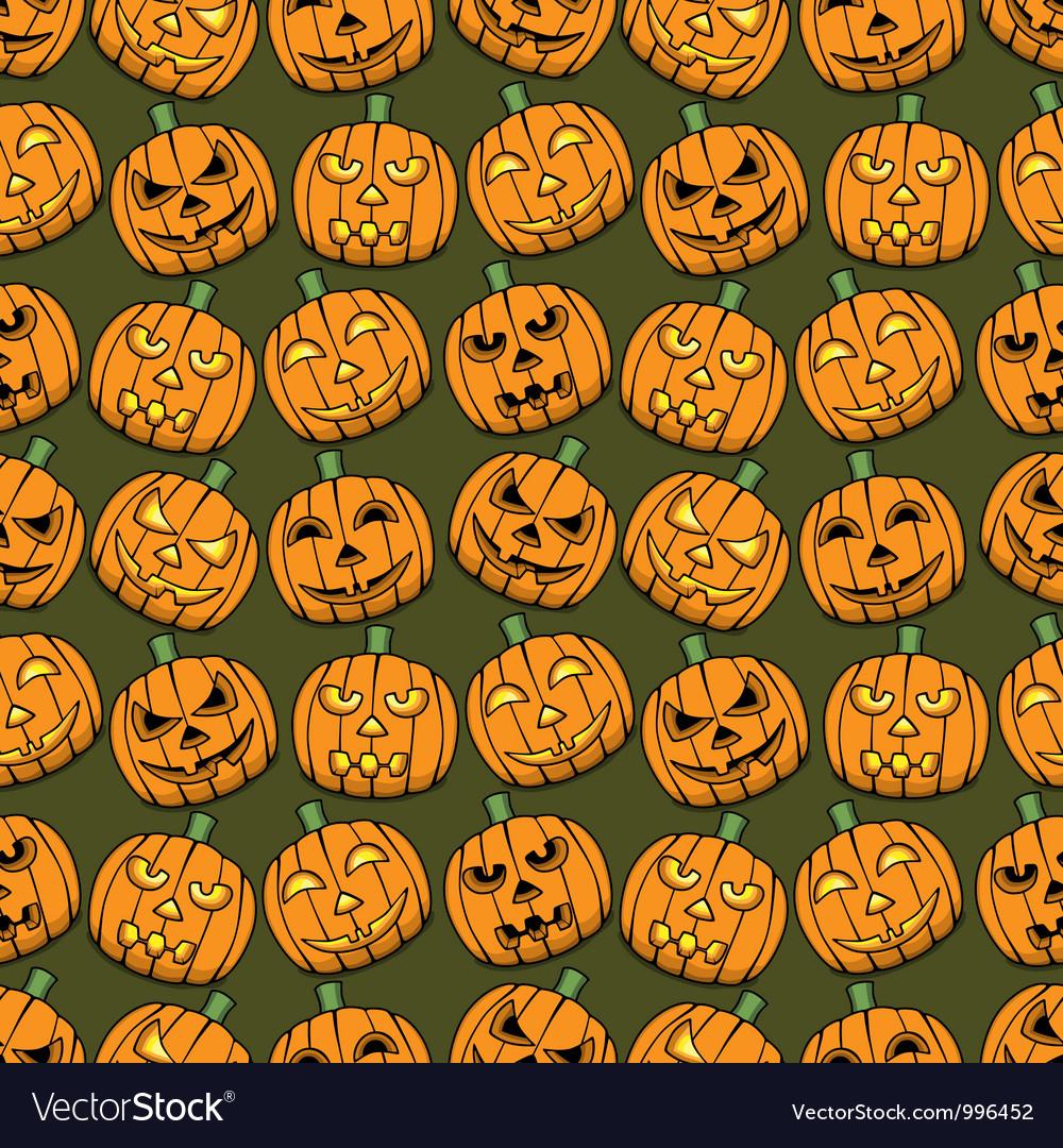 Halloween pumpkins seamless pattern vector image