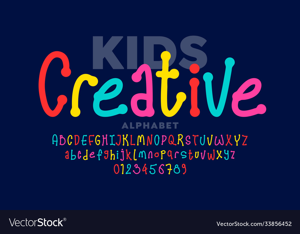 Hand drawn style kids font vector