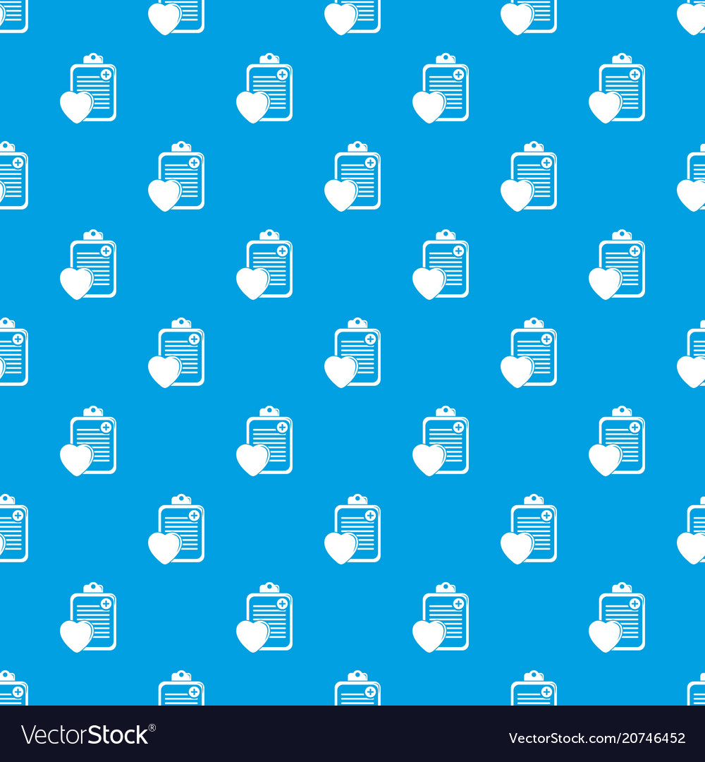 Patient card pattern seamless blue