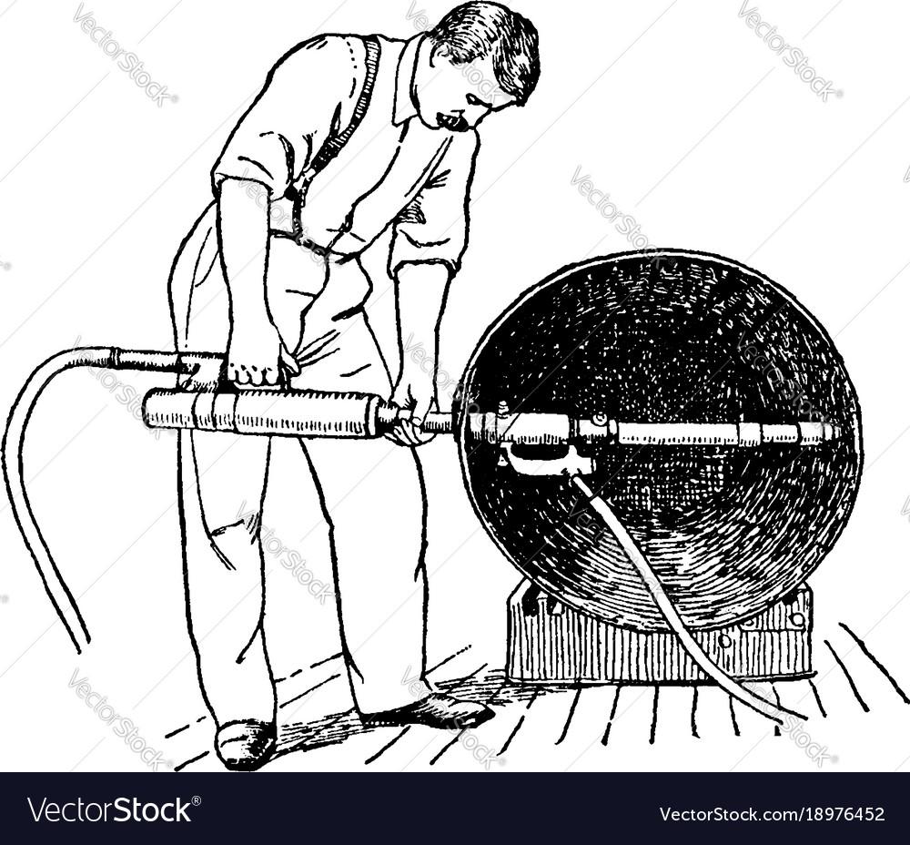 Pneumatic hammer vintage vector image