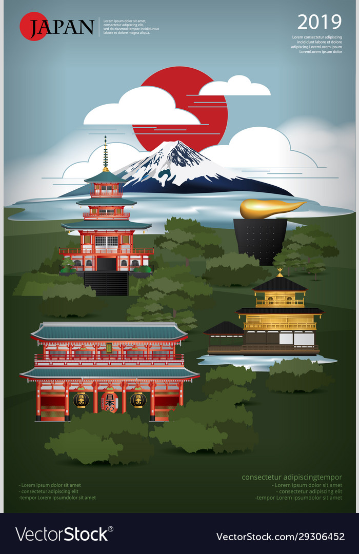 Poster japan landmark and travel attractions