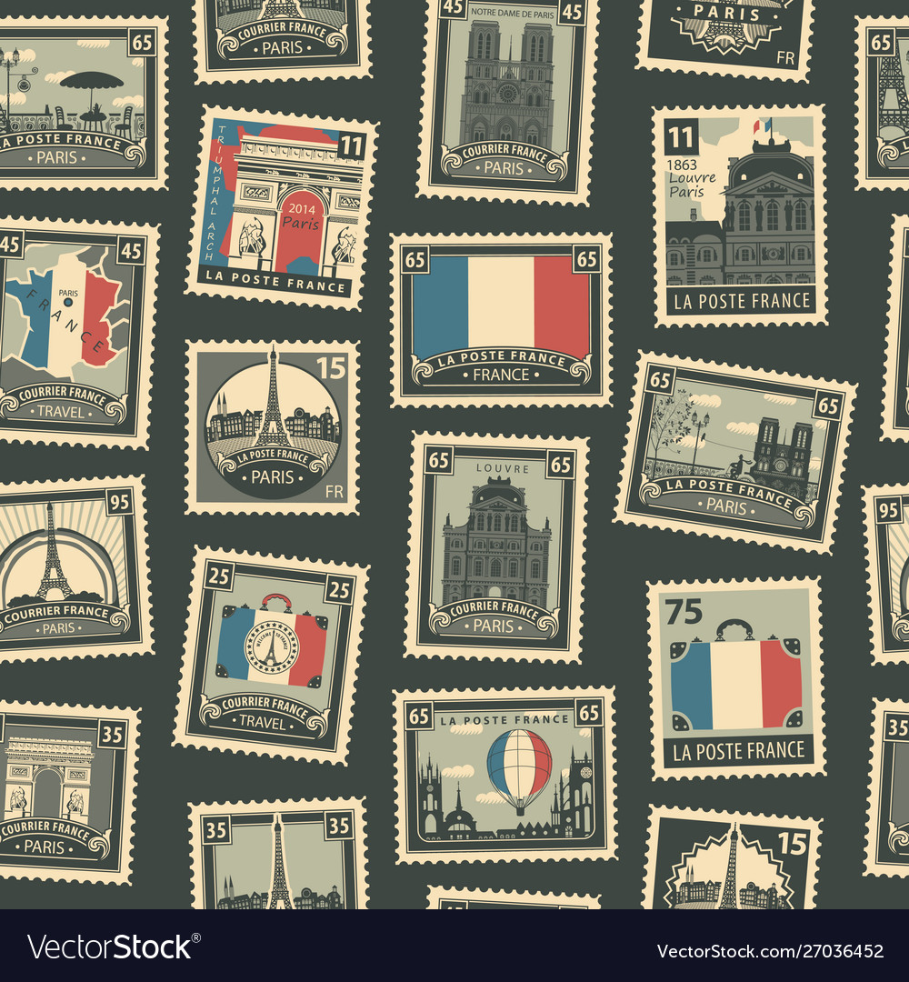 Seamless pattern with french postage stamps