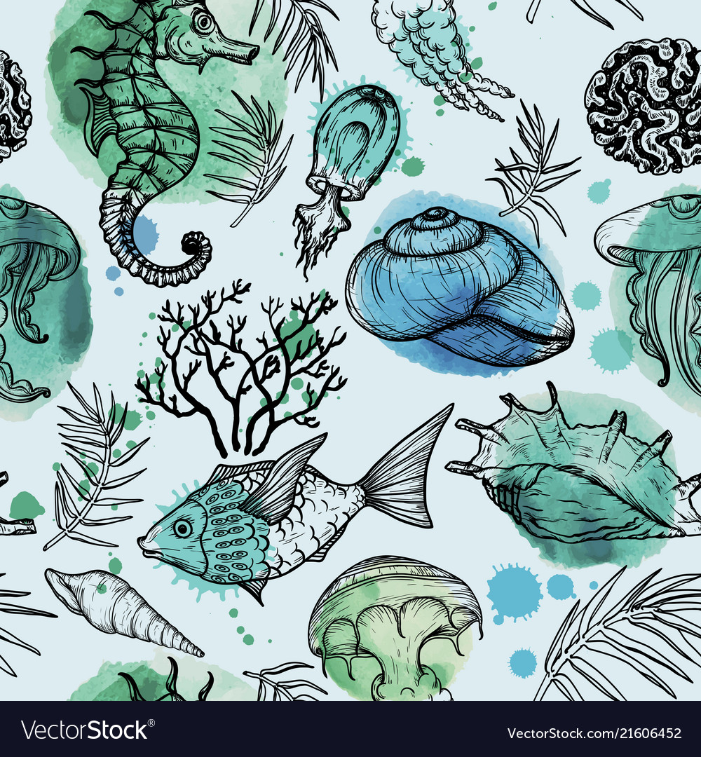 Seamless watercolor pattern with sea organisms