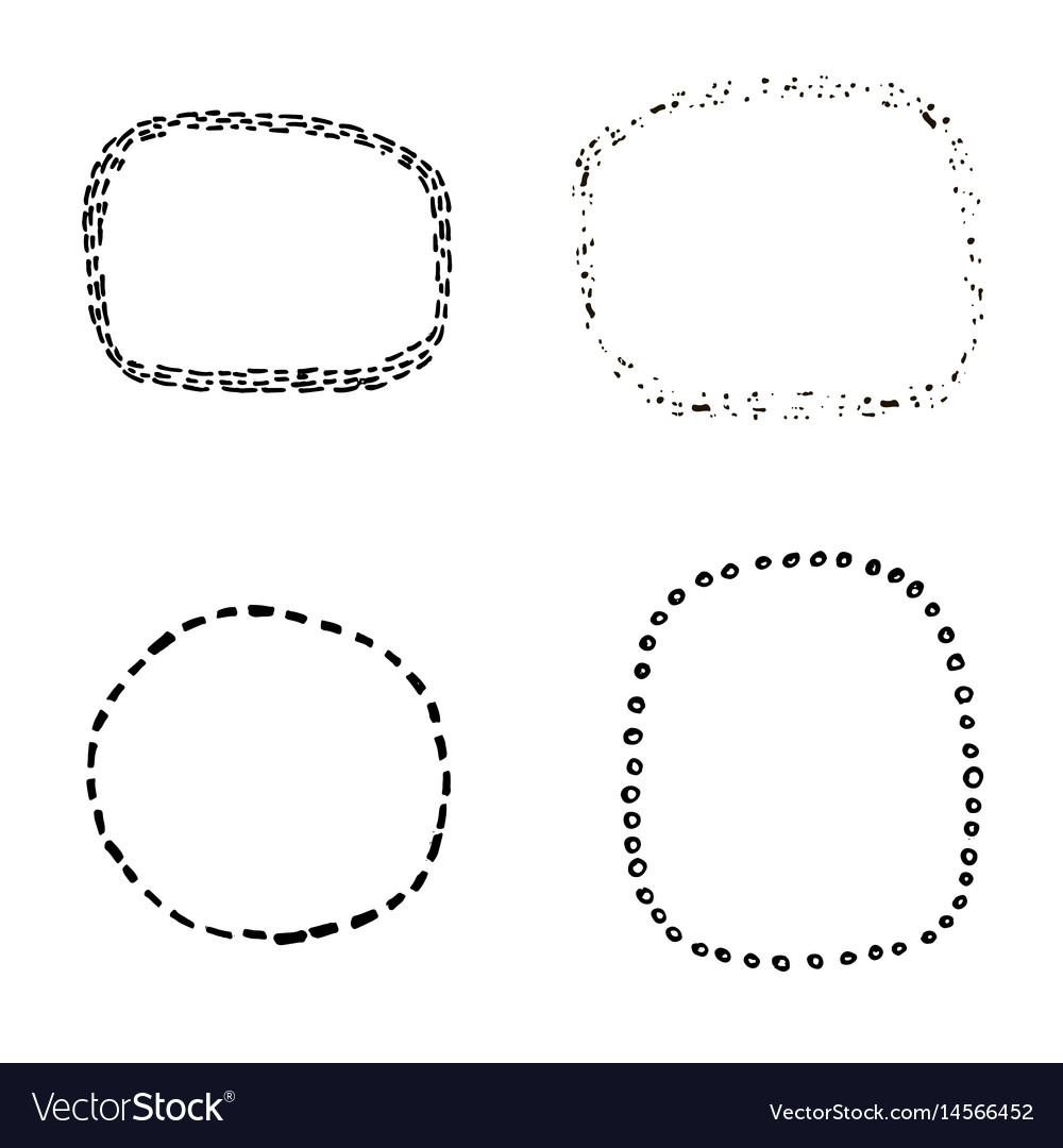 Set of four hand sketched decorative frame