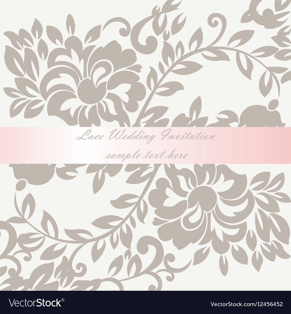 Wedding Invitation card with lace lily flower Vector Image