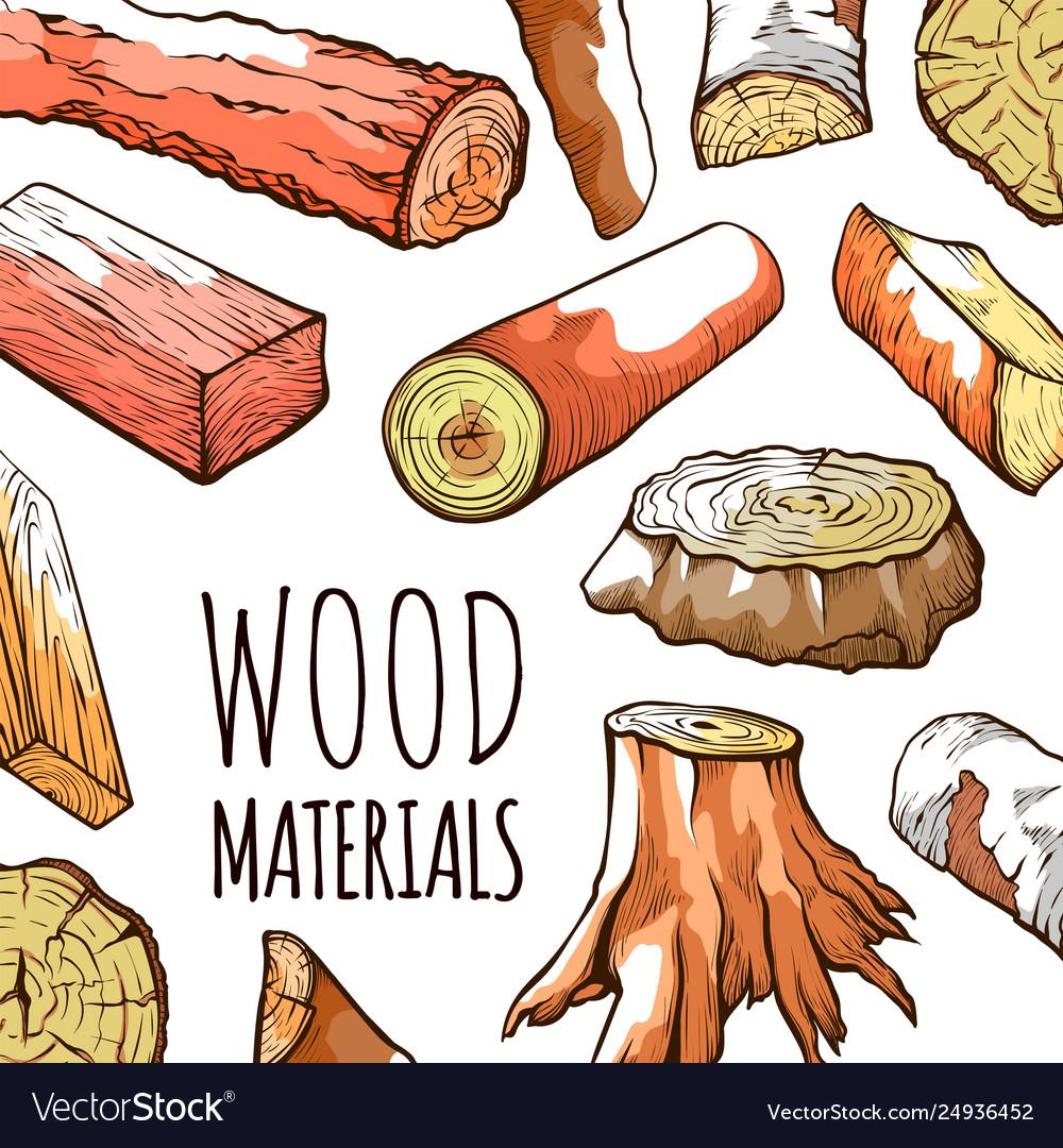 Wood natural material logs in brown water color