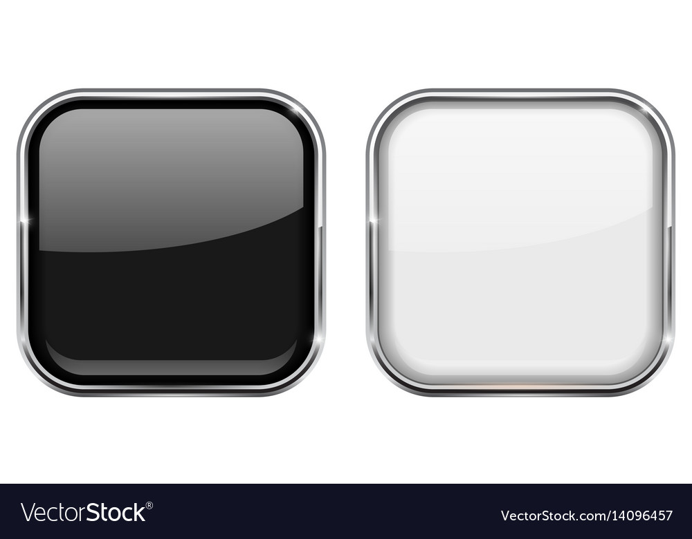 Black and white square buttons in chrome frame Vector Image