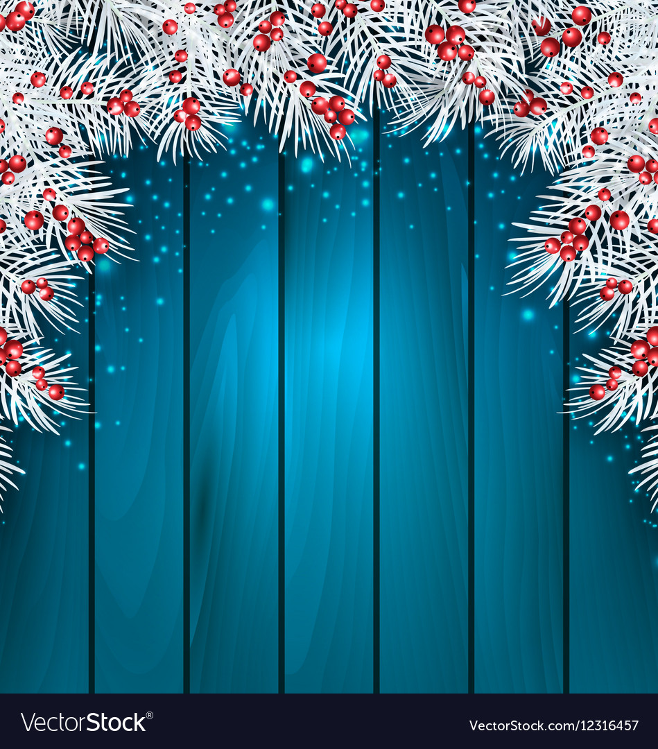 Christmas Wooden Background with Fir Tree Twigs