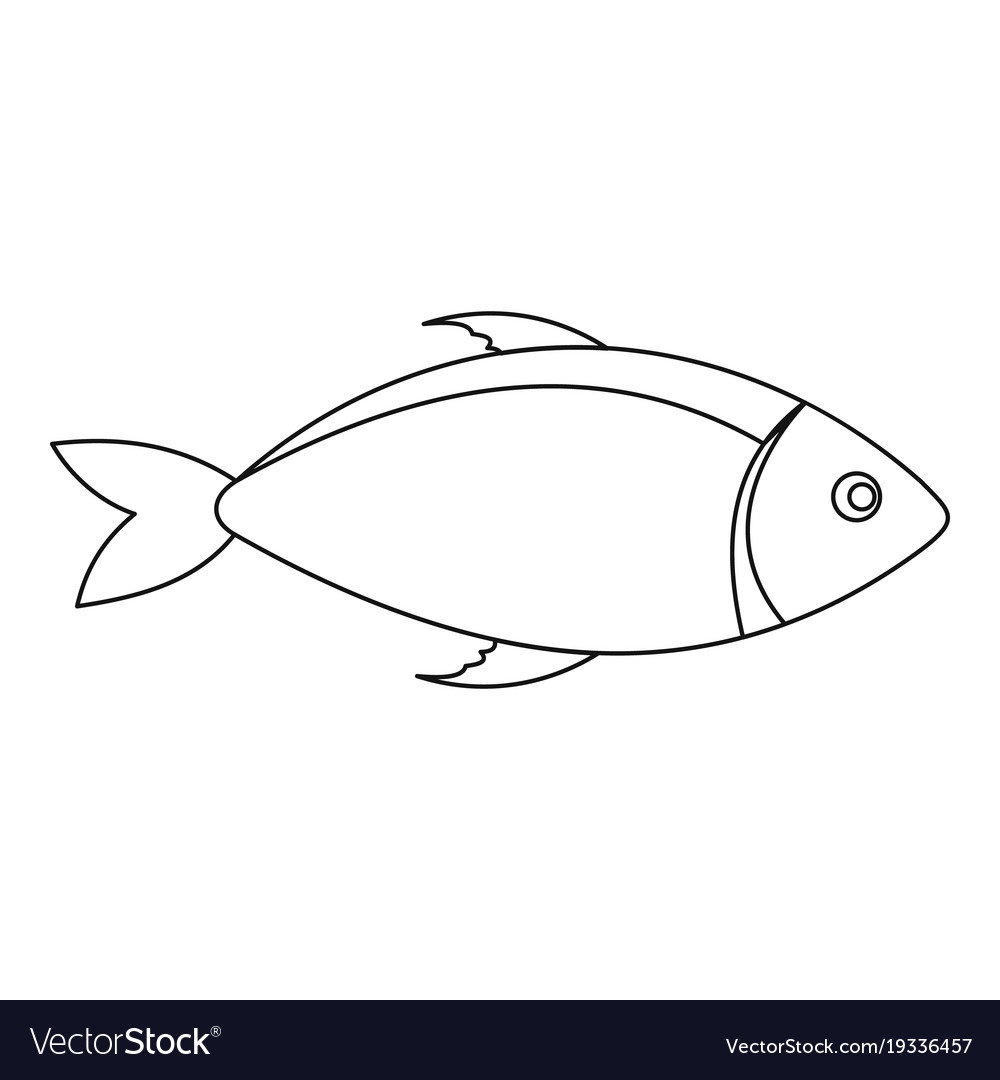 Fish icon outline style vector image