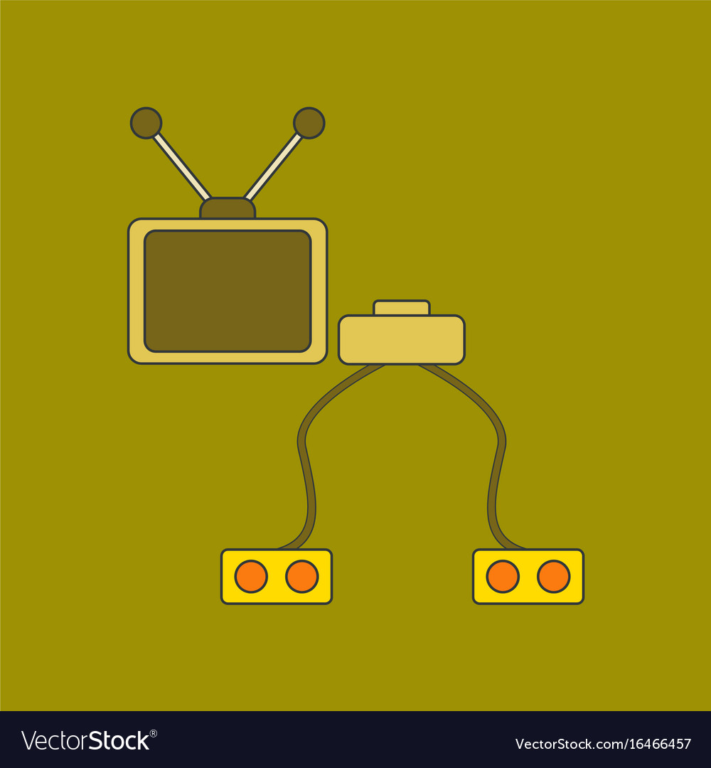 Flat icon on background kids toy tv game console vector image