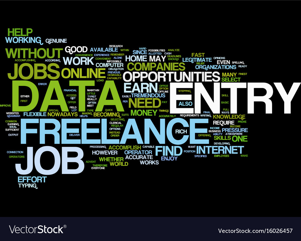 Freelance data entry text background word cloud vector image