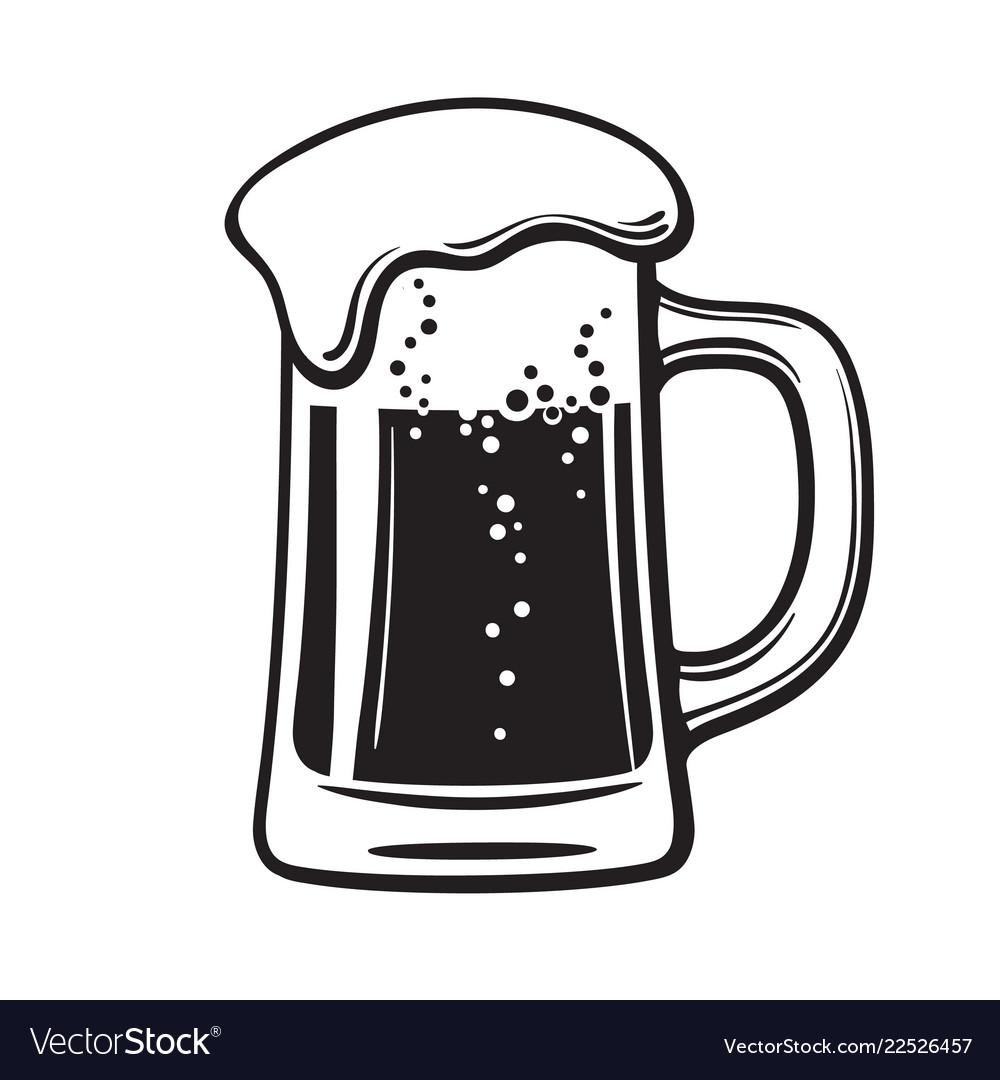 Glass mug of beer hand drawn
