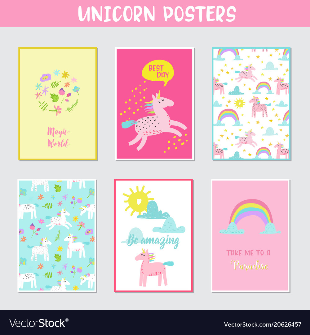Greeting cards set with cute magic unicorns