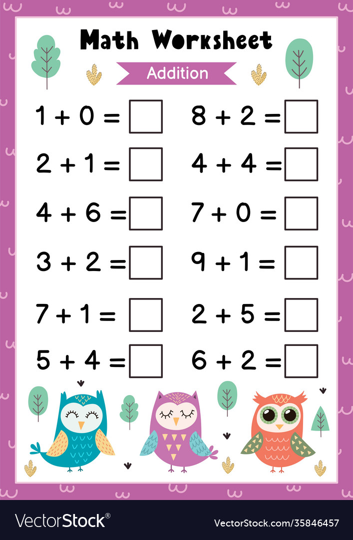 Math Worksheet For Kids Addition Mathematic Vector Image