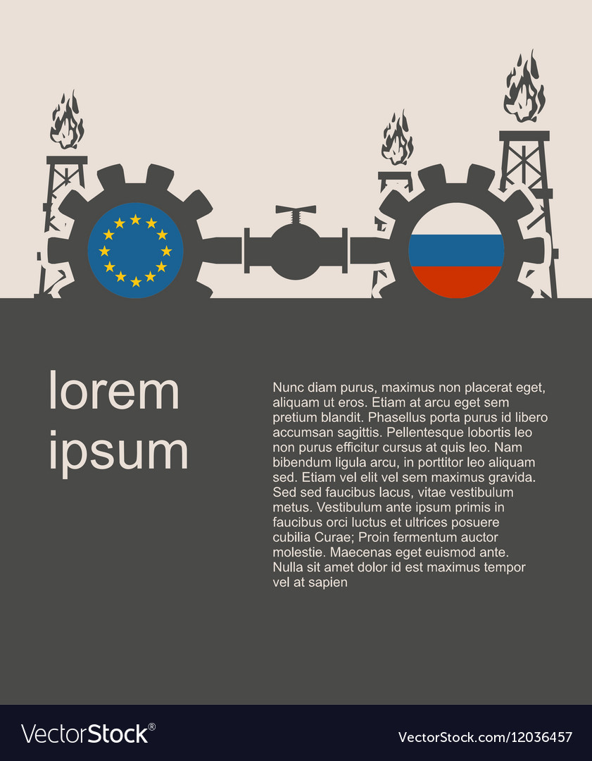 Russia and European Union flags on gears