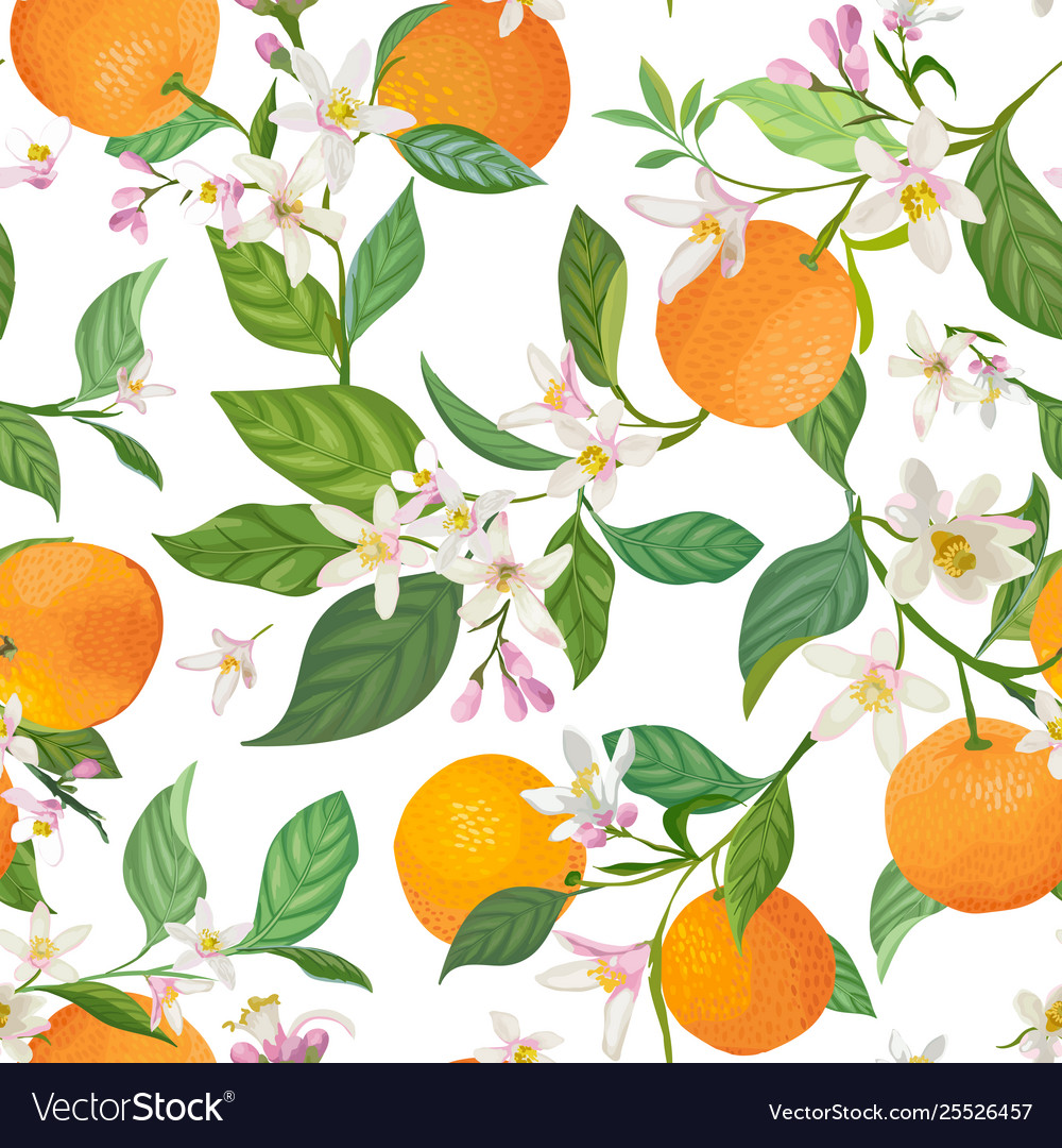 Seamless orange pattern with tropic fruits leaves