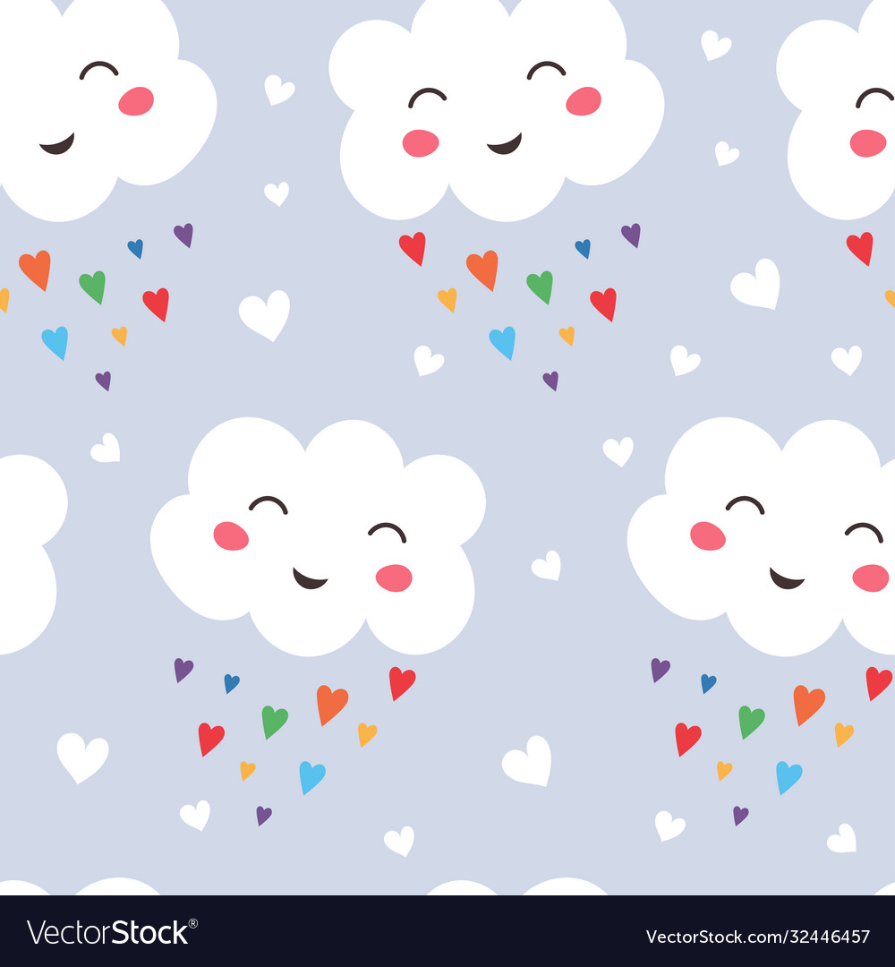 Seamless pattern funny kawaii cloud on rainbow
