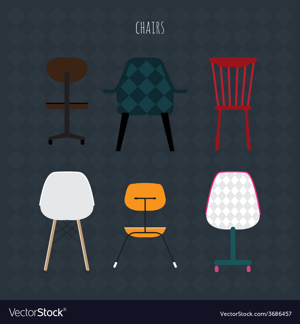 Set of colorful chairs flat