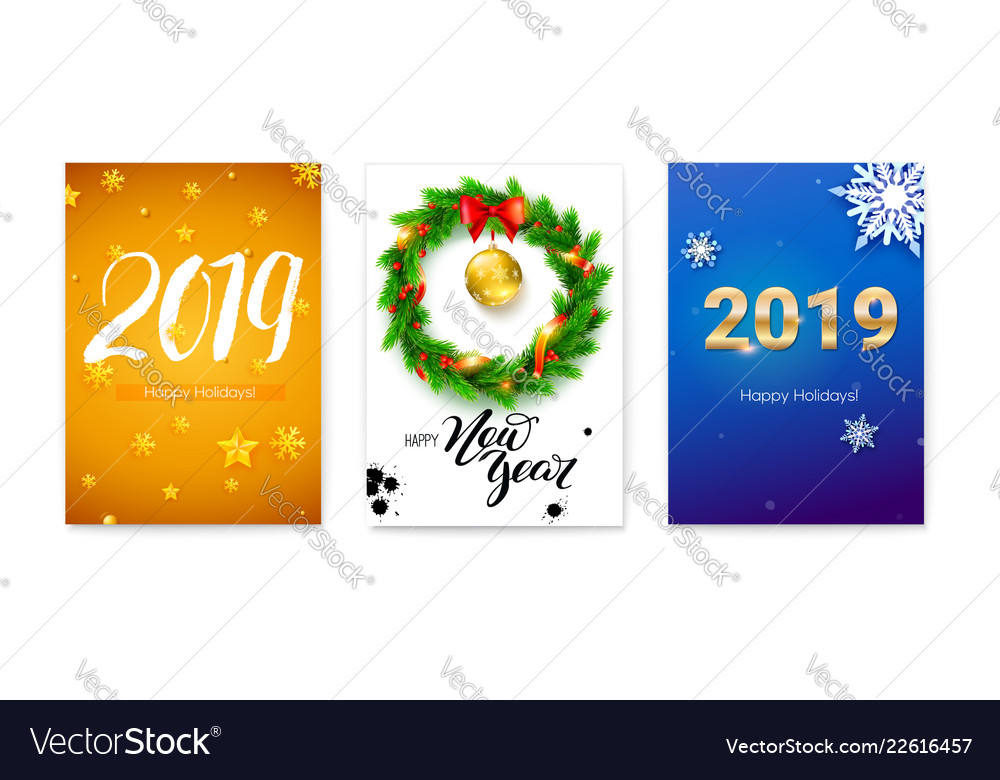 Set of holiday posters for happy new year events