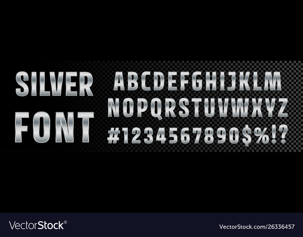 Silver font numbers and letters alphabet