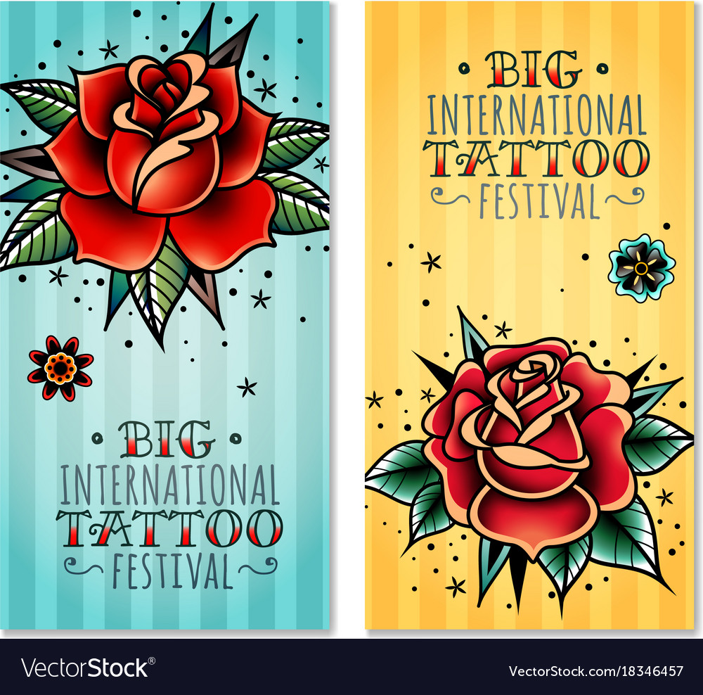 Traditional Tattoo Roses Vertical Banners Vector Image