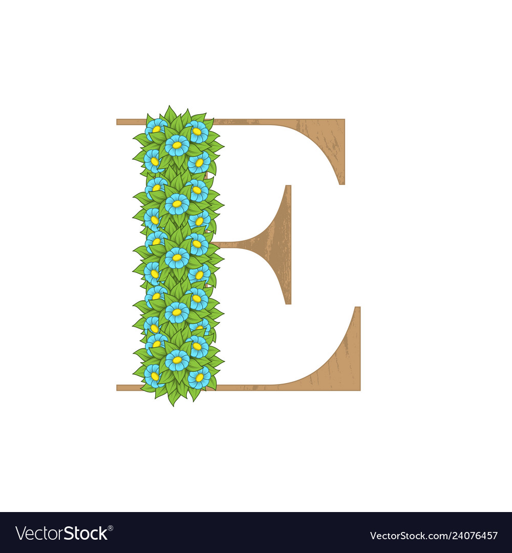 Wooden leaves letter e
