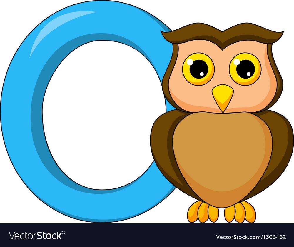 alphabet o with owl cartoon royalty free vector image