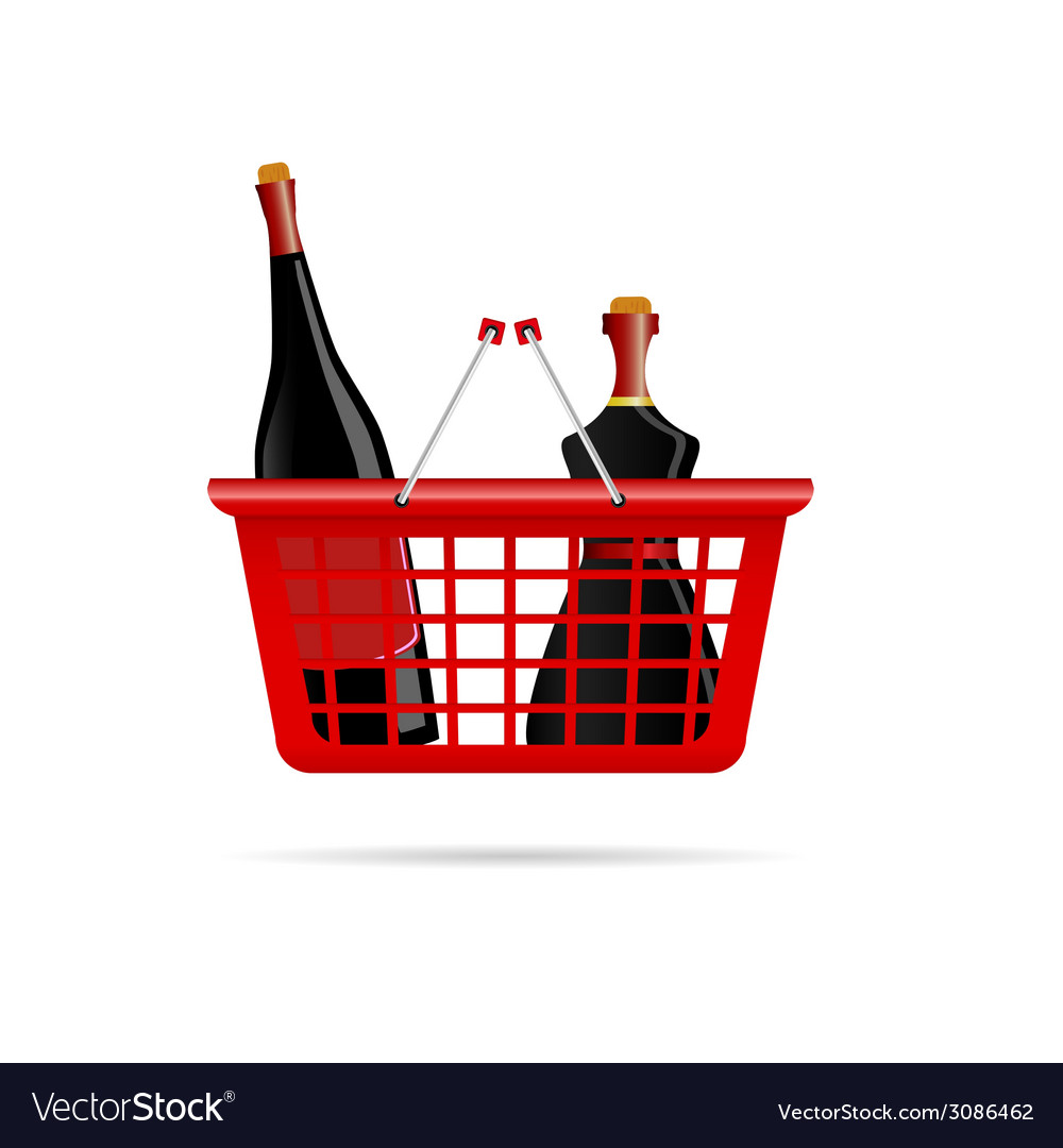 Basket with bottle of wine color