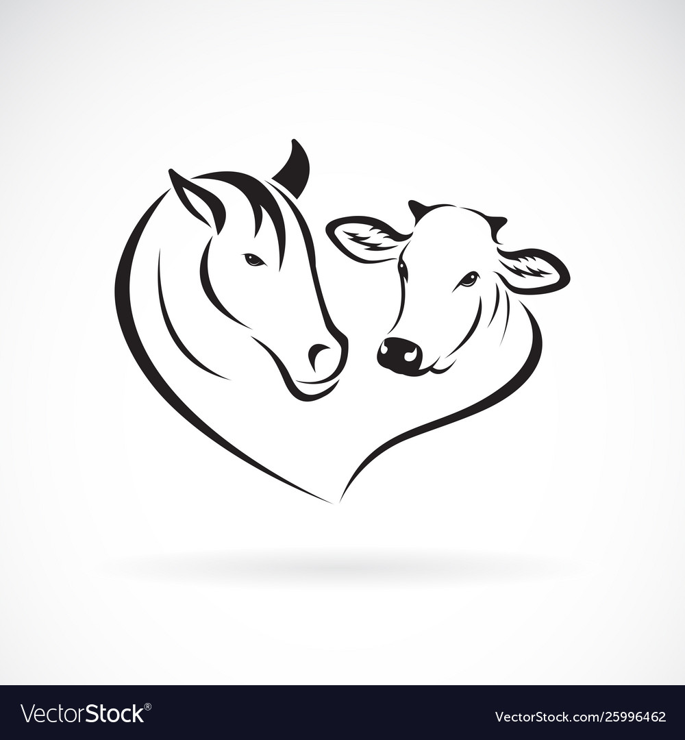Horse head and cow head design on a white