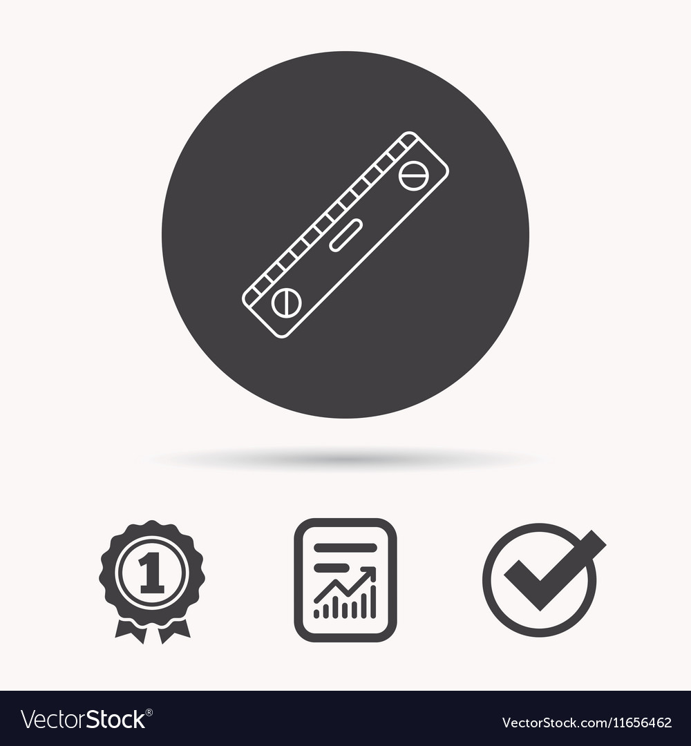 Level tool icon Horizontal measurement sign