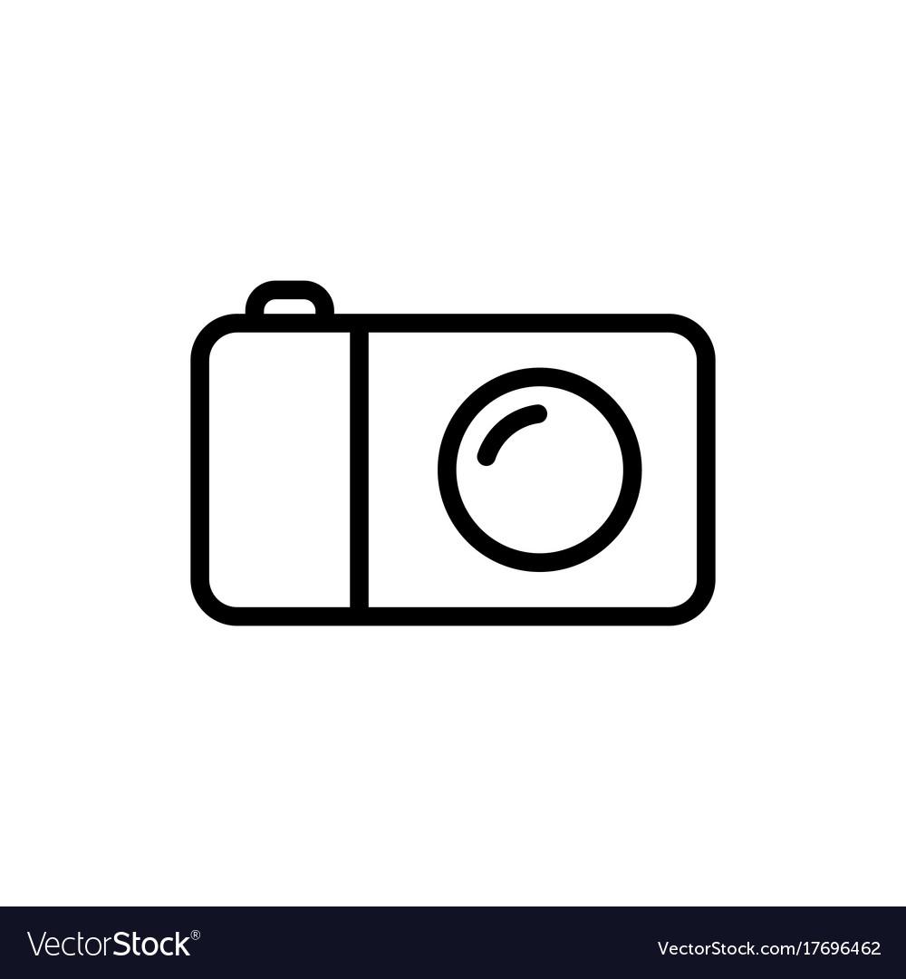Line camera icon on white background