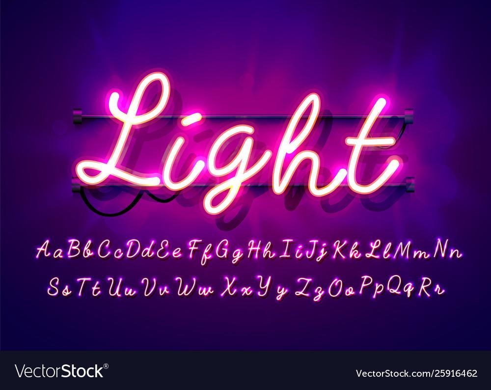 Neon tube hand drawn alphabet font script type