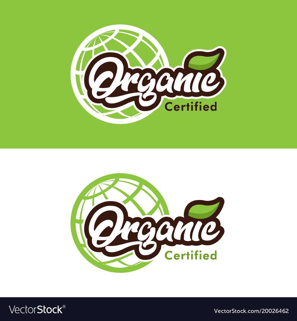 Organic certified logo icon