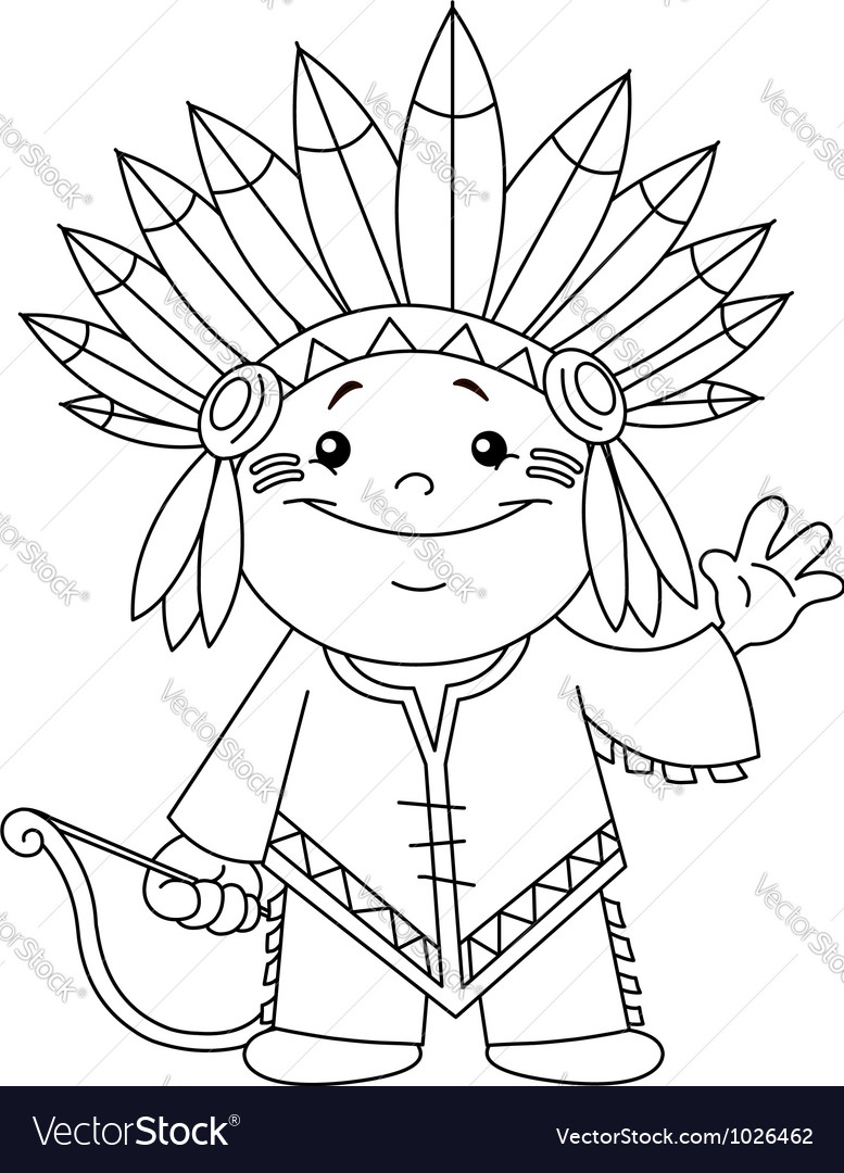 Outlined indian kid
