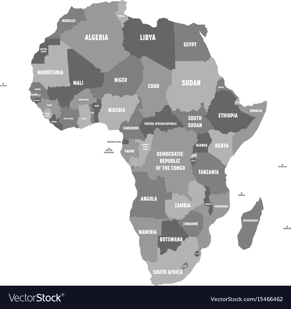 Political map of africa in four shades of grey Vector Image