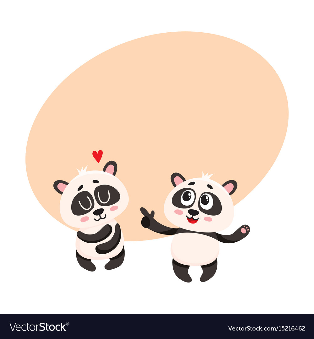 Two baby panda characters one pointing to another