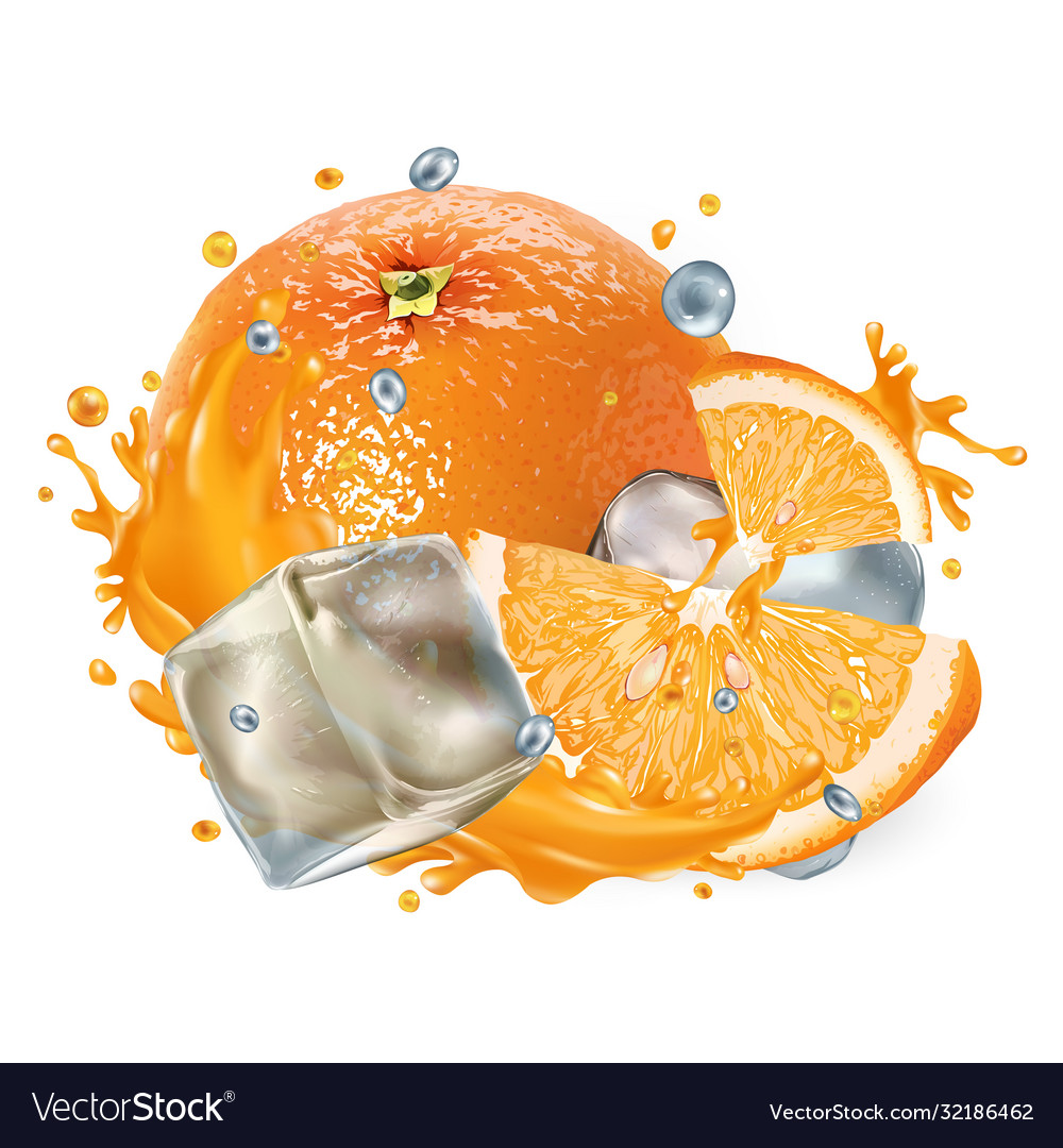 Whole and sliced orange with ice cubes and a